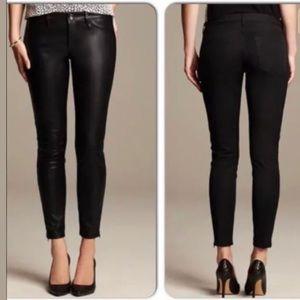 Banana Republic Sloan Black Faux Leather Pants 12